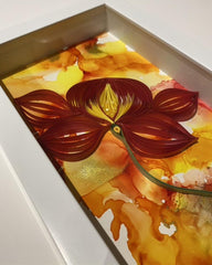 Quilling_art - Framed Quilled Abstract Wall Art Mix Media Alcohol Ink And Paper Strips 3D Art - Red/Yellow/Orange