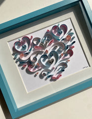 Quilling_art - Framed Quilling Wall Art Abstract Geometric Heart Love Hanging Framed Wall Art, Paper Art, Geometric Quilled Heart