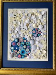 Quilling_art - Gold Framed Quilling Geometric Abstract Wall Art
