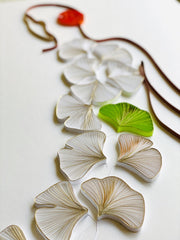 Quilling_art - Paper Quilled Wall Art - Minimalist Women Body Line Drawing - Ginkgo Leaves Gold, White Abstract Nordic Wall Art