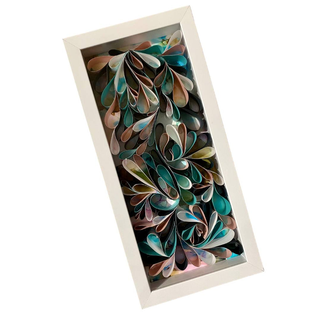 "Quilling_art - Quilled Abstract Wall Art Mix Media Alcohol Ink Framed Art - Birthday Gift - 3D Art - Rolled Paper Art - White Frame Mix Media Art 20""x16"""