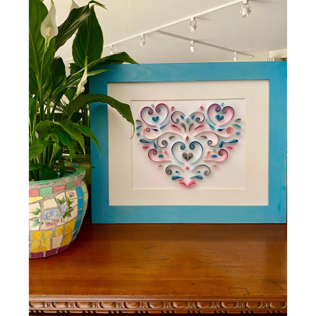 Quilling_art - Quilling Wall Art Abstract Geometric Hanging Framed Wall Art, Paper Art, Geometric Quilled Heart - Framed In A Double Mat Pink, Blue