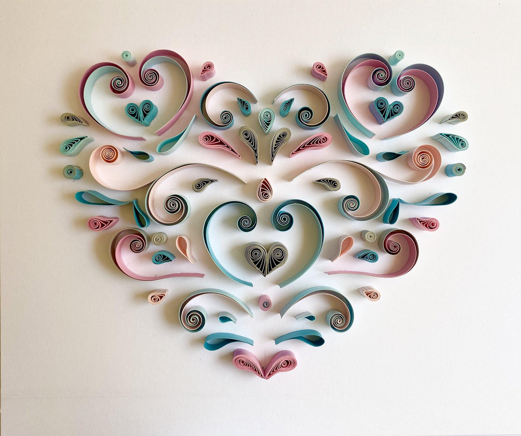 Quilling_art - Quilling Wall Art Abstract Geometric Hanging Wall Art, Paper Art, Geometric Quilled Heart - Framed In A Double Mat Pink, Blue