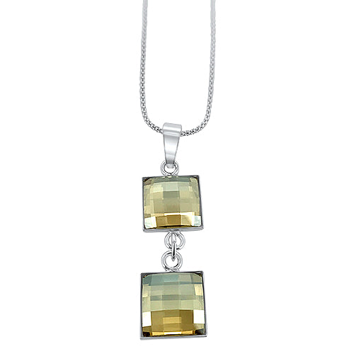 Chessboard Crystal Double Pendant