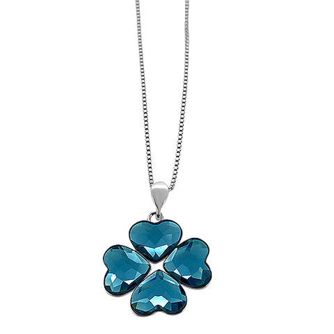 Crystal Heart Flower Pendant