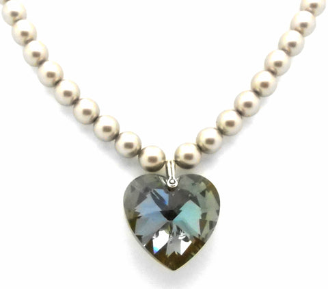 Love 2 U Crystal Heart & Pearl Necklace