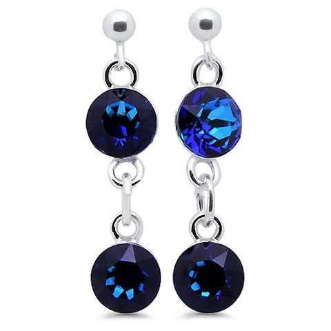 Fancy Double Round Crystal Drop Stud Earrings