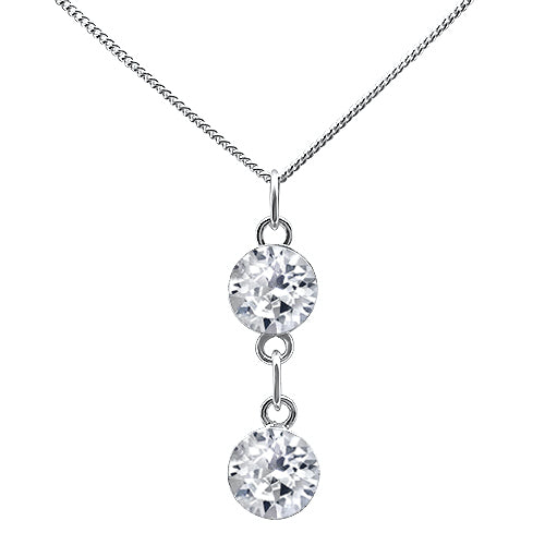 Fancy Double Round Crystal Drop Pendant
