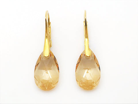 Pear Drop Crystal Leverback Earrings