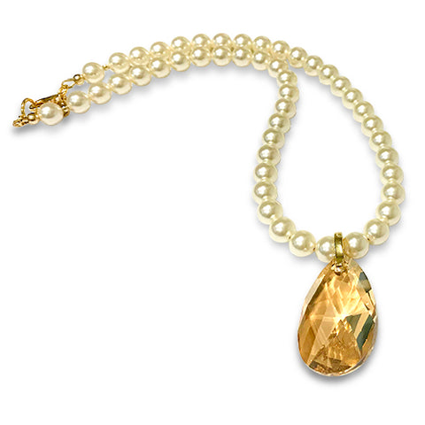 Pear Drop Crystal & Pearl  Necklace