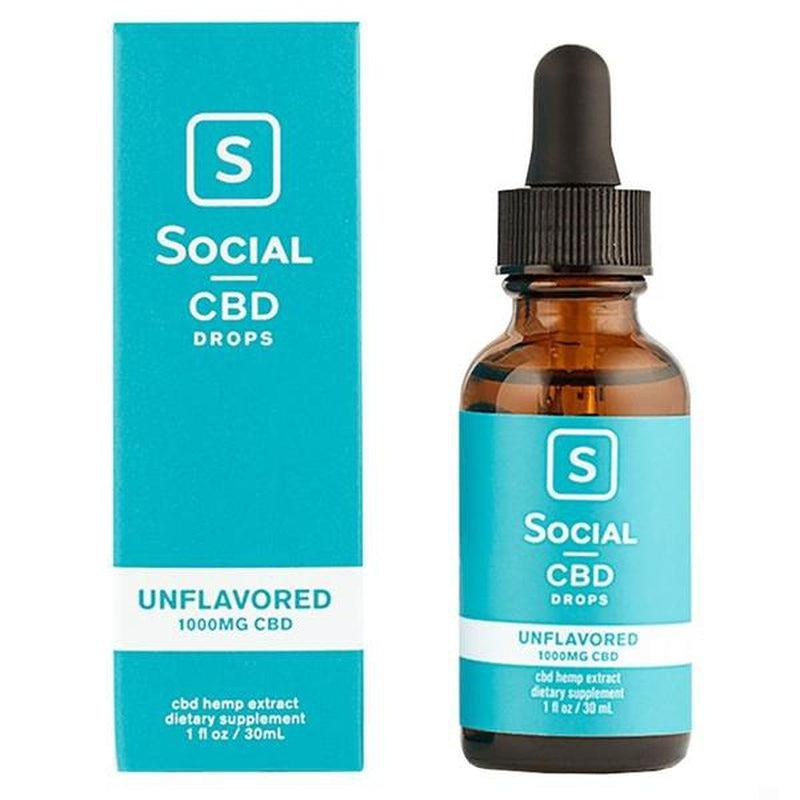 Social - CBD Tincture - Unflavored Drops - 250mg-2000mg