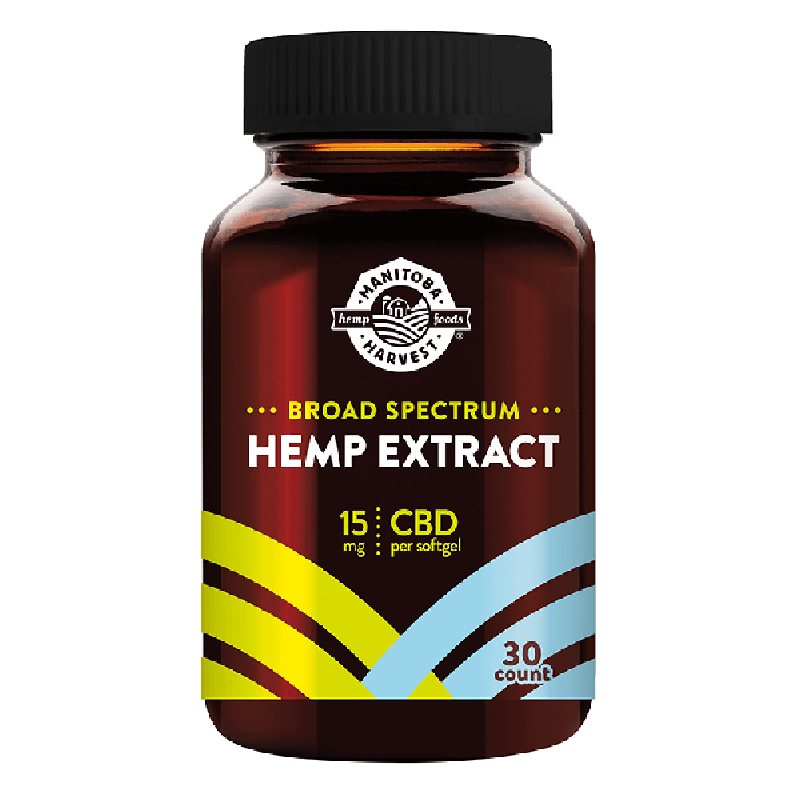 Manitoba Harvest - CBD Capsule - Broad Spectrum Hemp Extract Soft Gel - 15mg