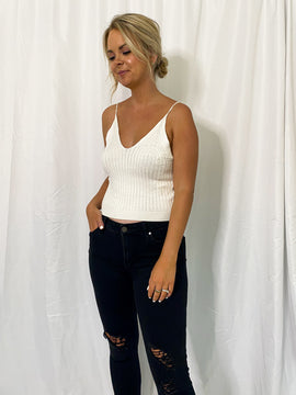 The Cami Crop Top Tank Sweater- Ivory