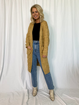 The Parker Knitted Long Cardigan- Honey