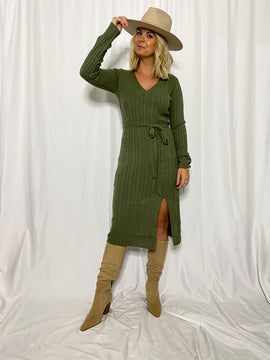 The Lucy Sweater Midi Dress- Olive