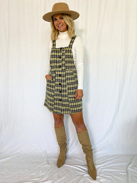 The Tatum Plaid Button Front Overall Dress