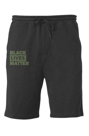 olive BLM Fleece Shorts
