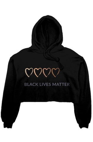 BLM Colored Heart crop fleece hoodie