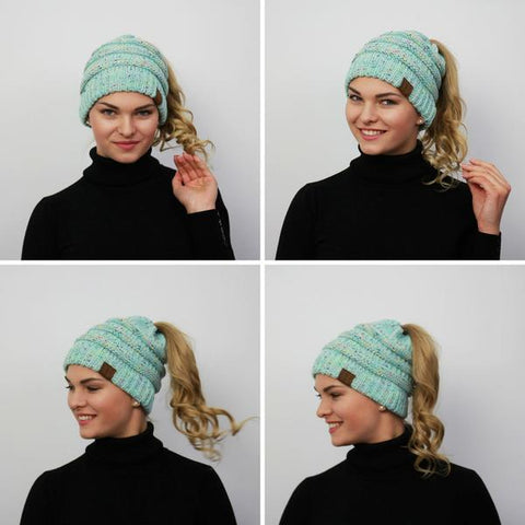 Ponytail Winter Beenie for Women