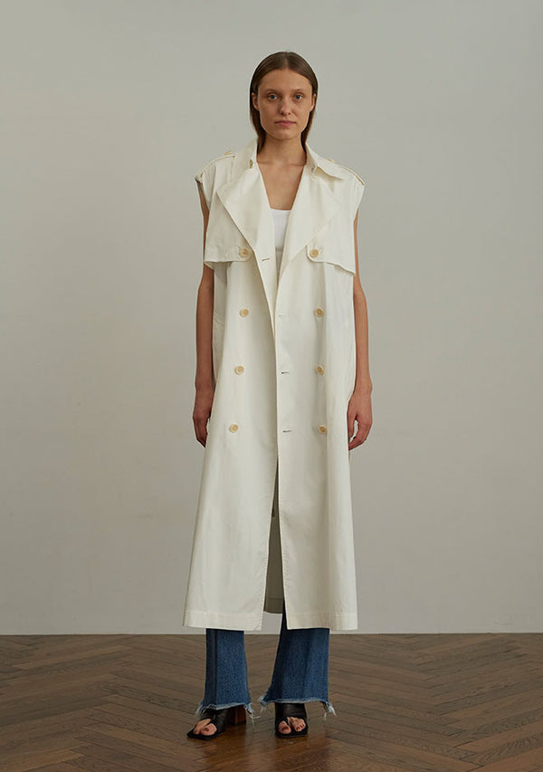Dobby Canvas N/S Trench Coat WHITE