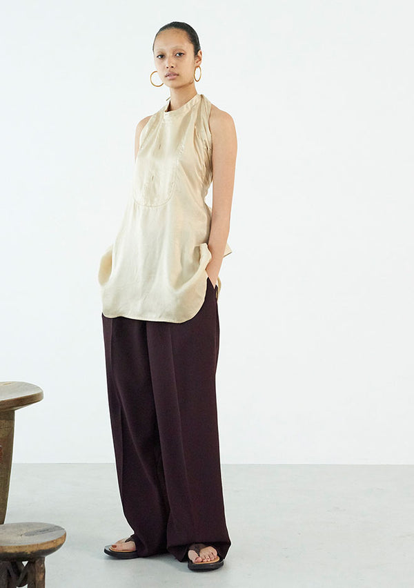Georgette In Tuck Wide Pants BORDEAUX