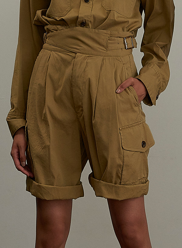 Dobby Canvas Gurkha Shorts BEIGE