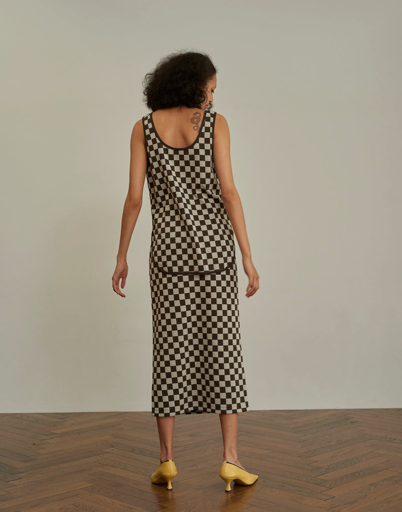 Checkered Jacquard Tank Top CHECK