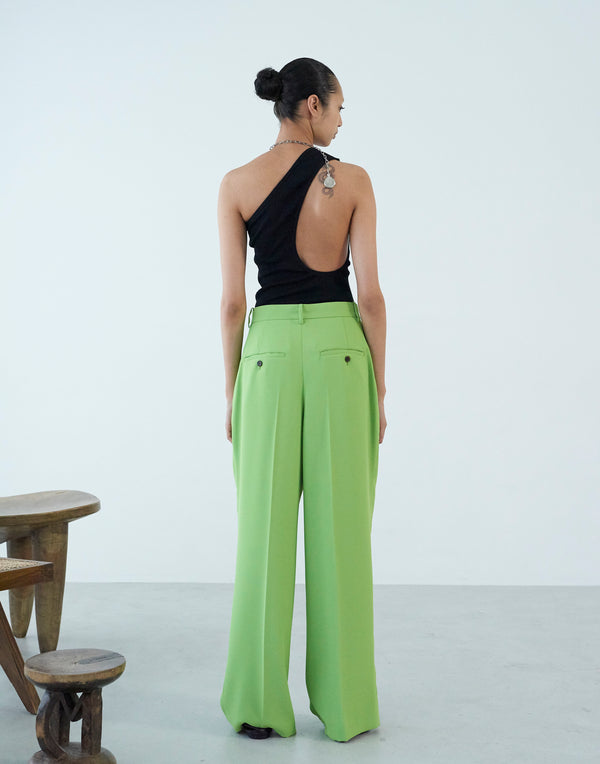 Georgette In Tuck Wide Pants YELLOW GREEN