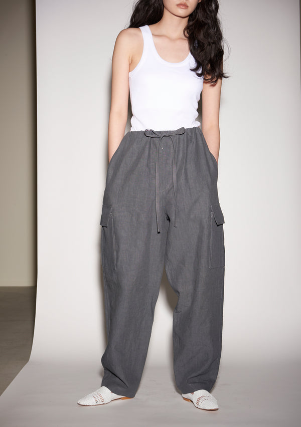 French Linen Military Pants GREY