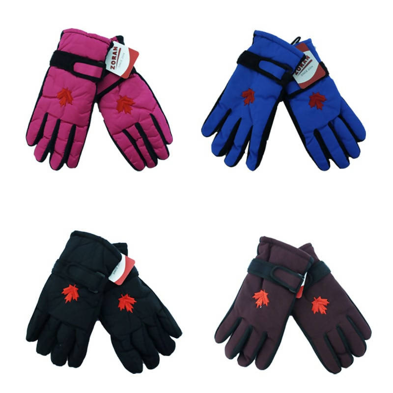 Ladies Ski Gloves with Strap and Maple Leaf