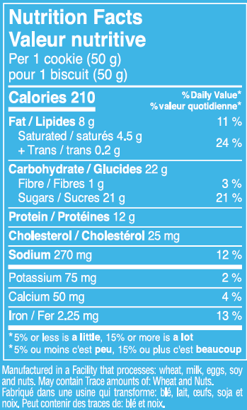 True Nutritionals Inc Chocolate Chip Protein Cookie - Nutrition Facts