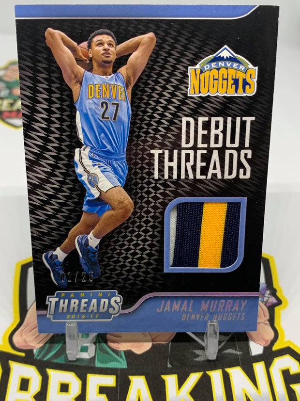 #S13 - 16-17 Jamal Murray Debut Threads 3 Colour Patch #1/25 Rookie Card