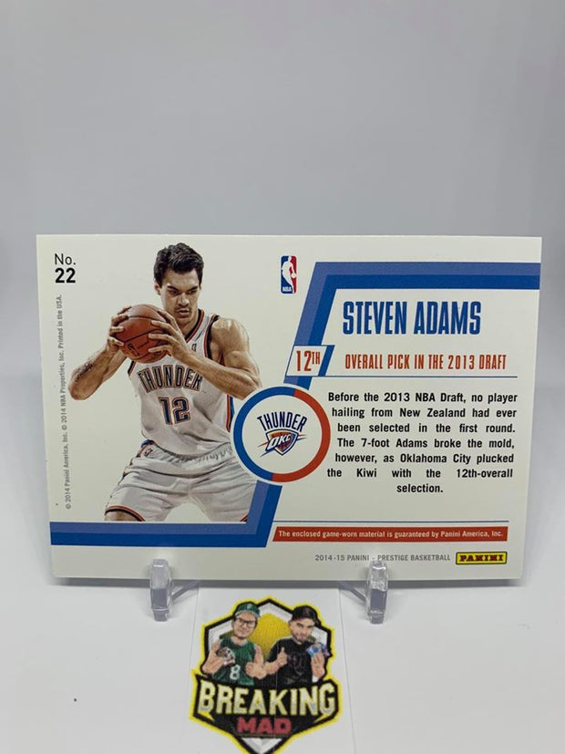 #S6 - 14-15 Steven Adams Panini Prestige #04/25 Bonus Shots Game Worn Patch #22