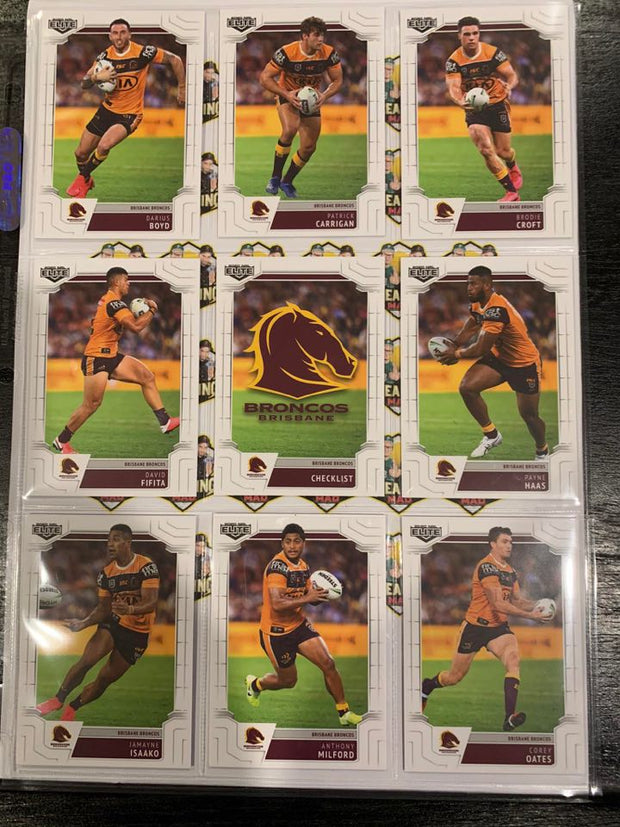 #071- 2020 NRL Elite Broncos Full Team Base Set $12