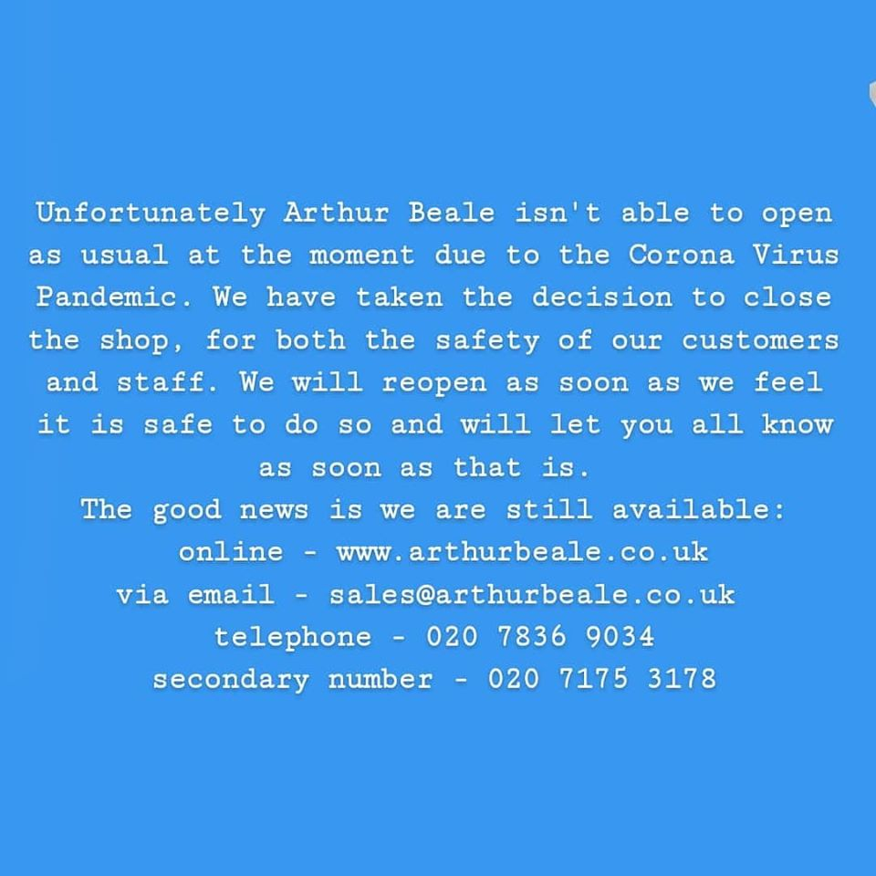 Update on our response Covid-19 - The Shop is Closed, but we're Open Online