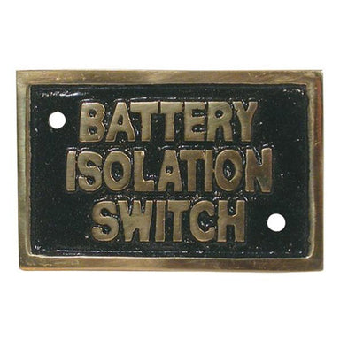 "Brass ""Battery Isolation Switch"" Name Plate - Arthur Beale"