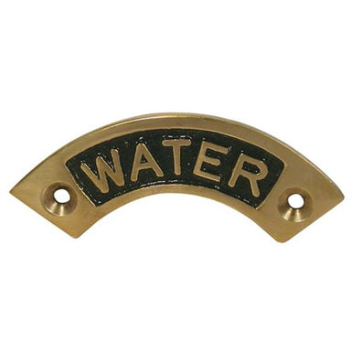 "Brass Curved ""Water"" Deck Filler Name Plate - Arthur Beale"