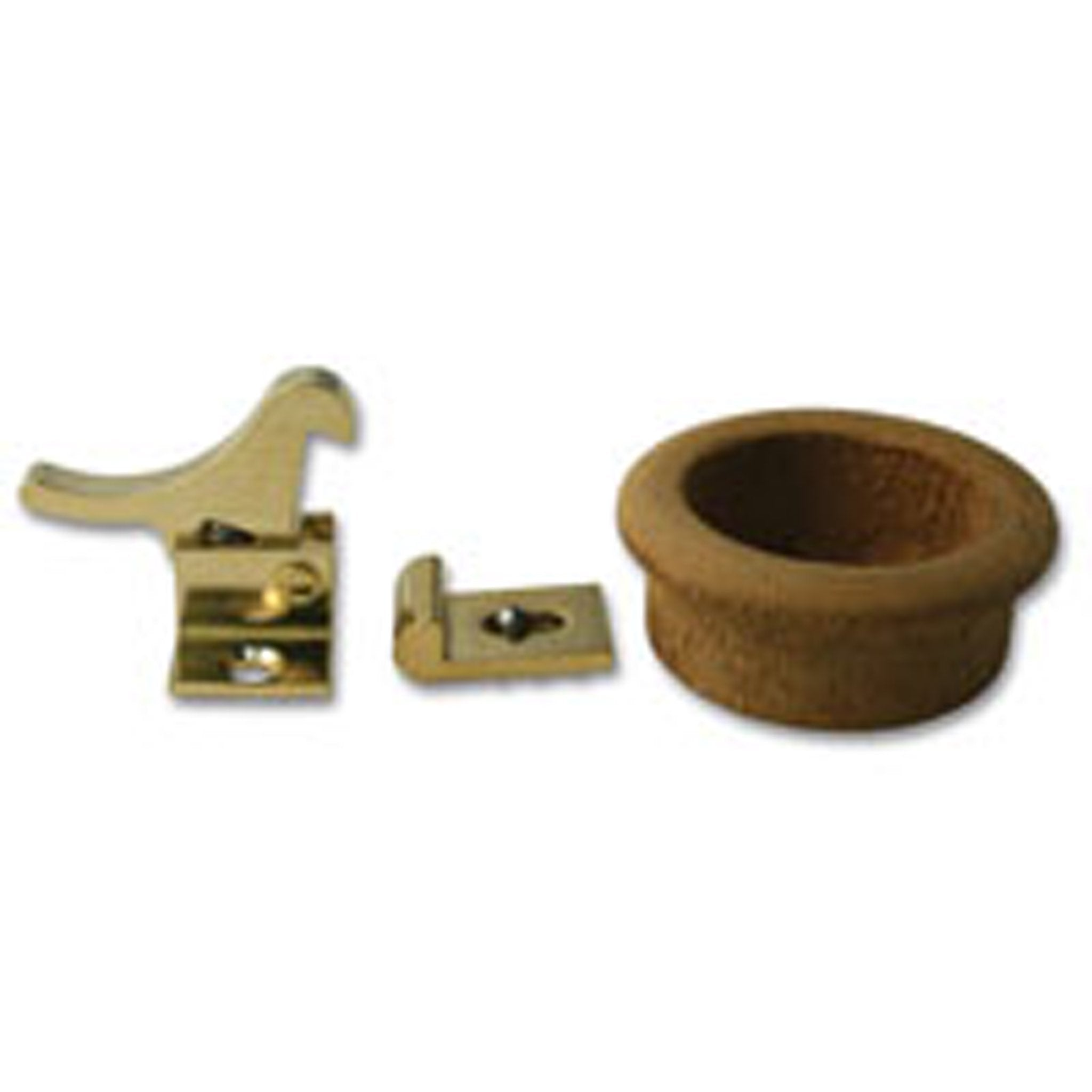 Brass Elbow Catch with Teak Finger Ring - Arthur Beale