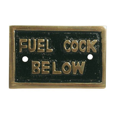 "Brass ""Fuel Cock Below"" Name Plate - Arthur Beale"