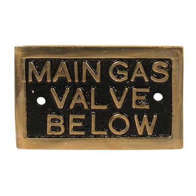 "Brass ""Main Gas Valve Below"" Name Plate - Arthur Beale"