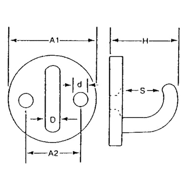 Stainless Steel Round Hook Plate - Arthur Beale
