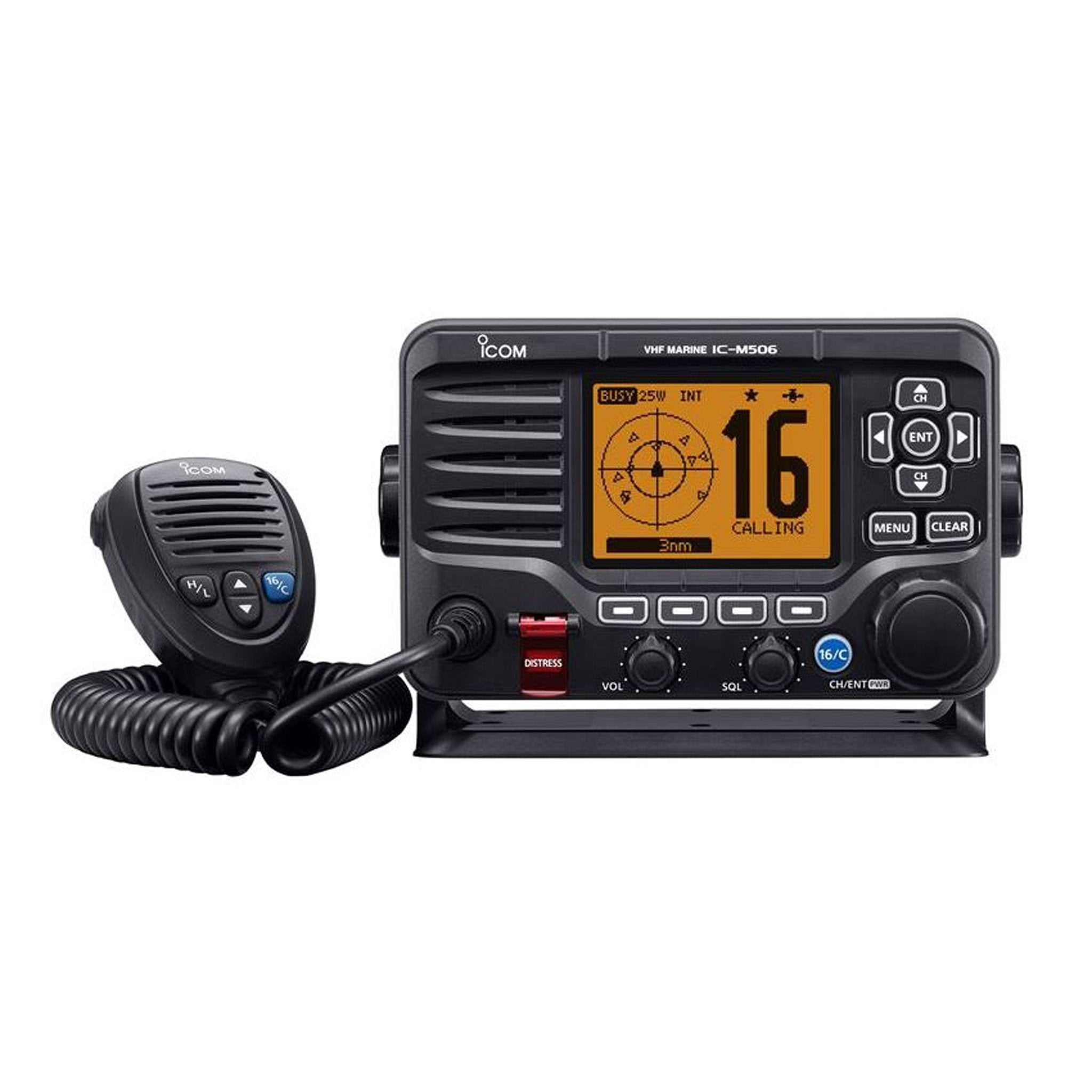 Icom M506GE VHF/DSC marine radio with NMEA 2000 connectivity and AIS receiver. - Arthur Beale