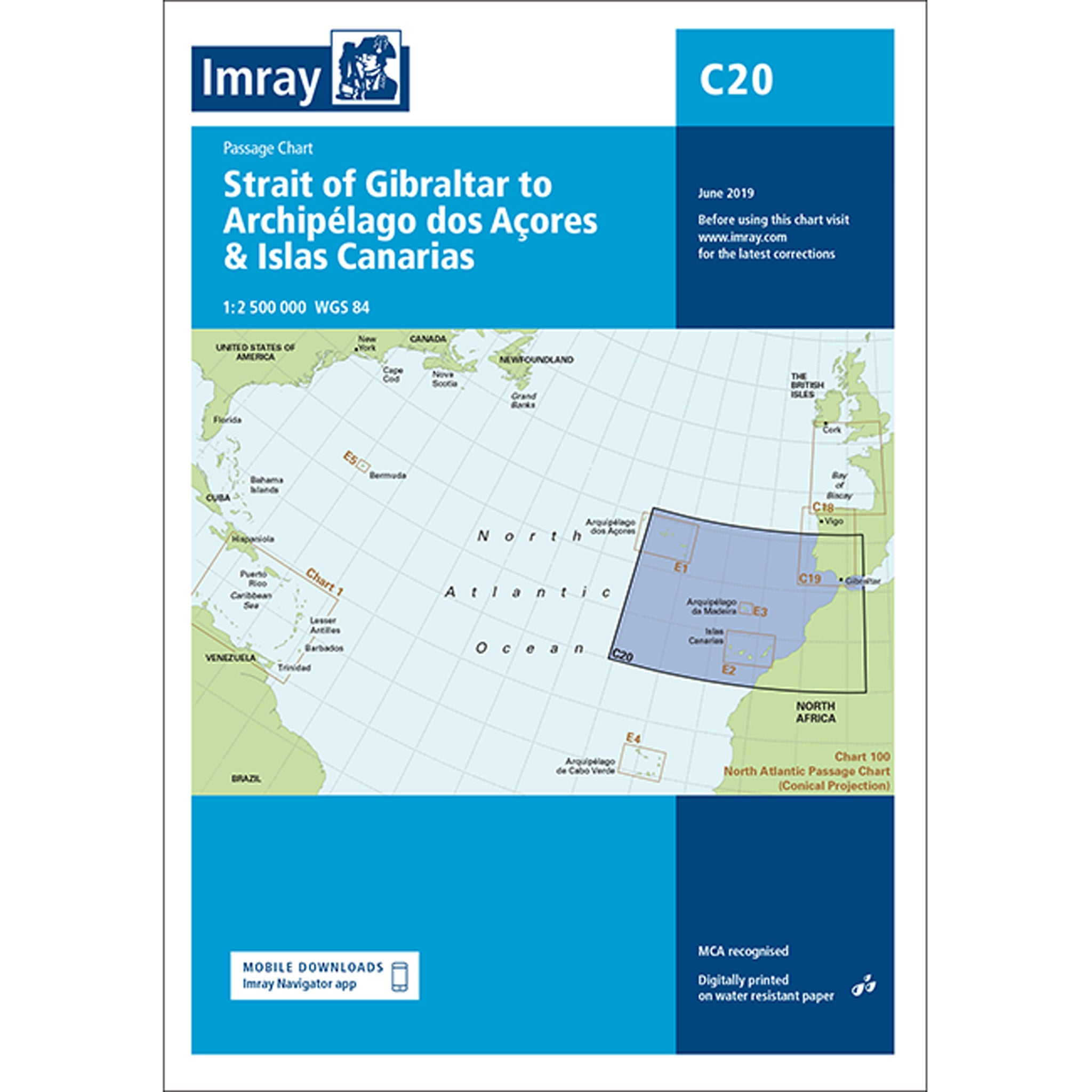 Imray Chart C20 Strait of Gibraltar to Arquipelago dos Açores and Islas Canaries