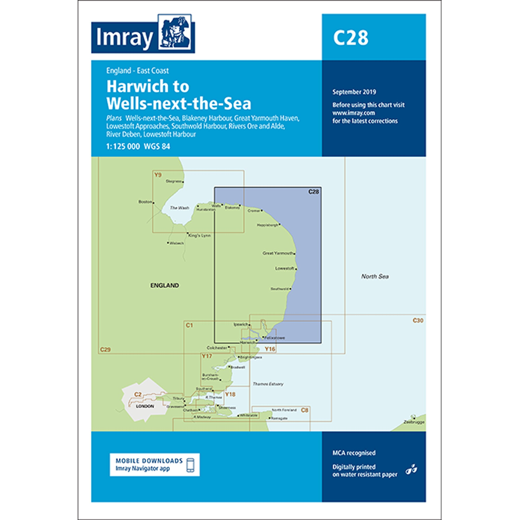 Imray Chart C28 Harwich to Wells-next-the-Sea