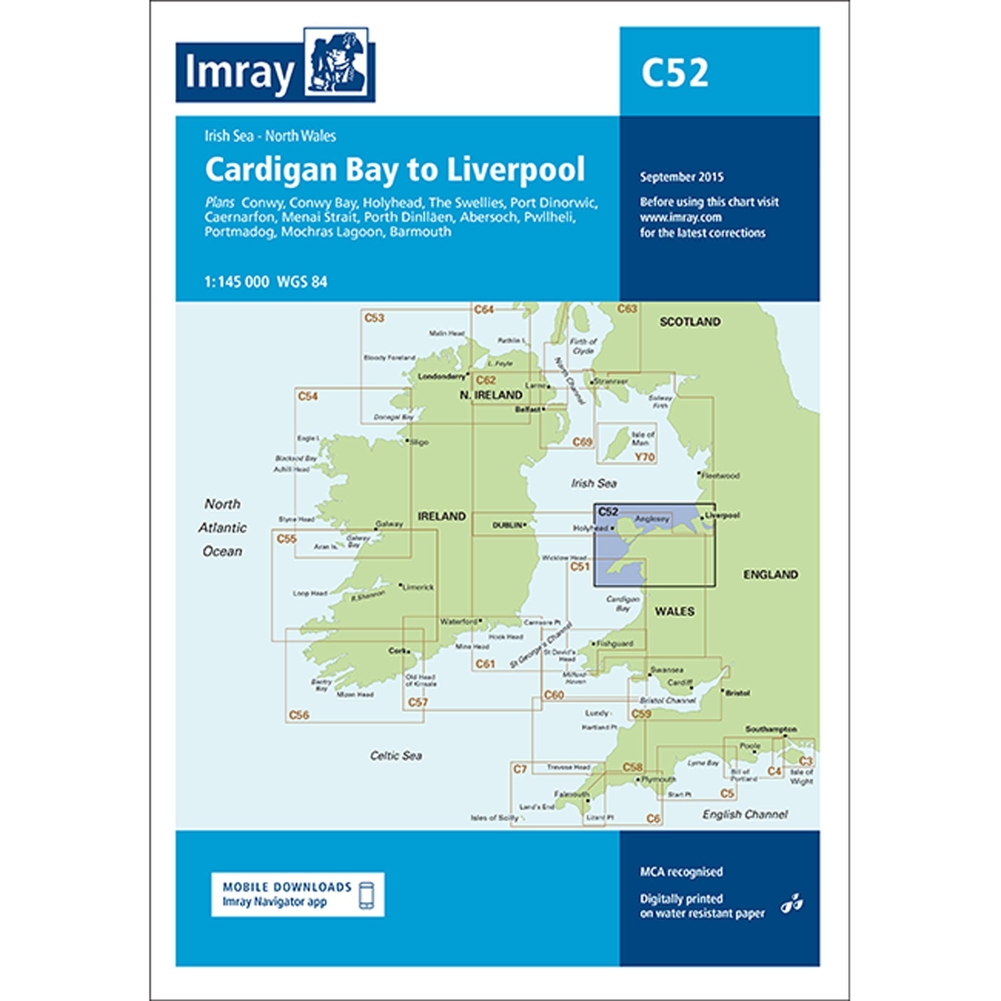 Imray Chart C52 Cardigan Bay to Liverpool