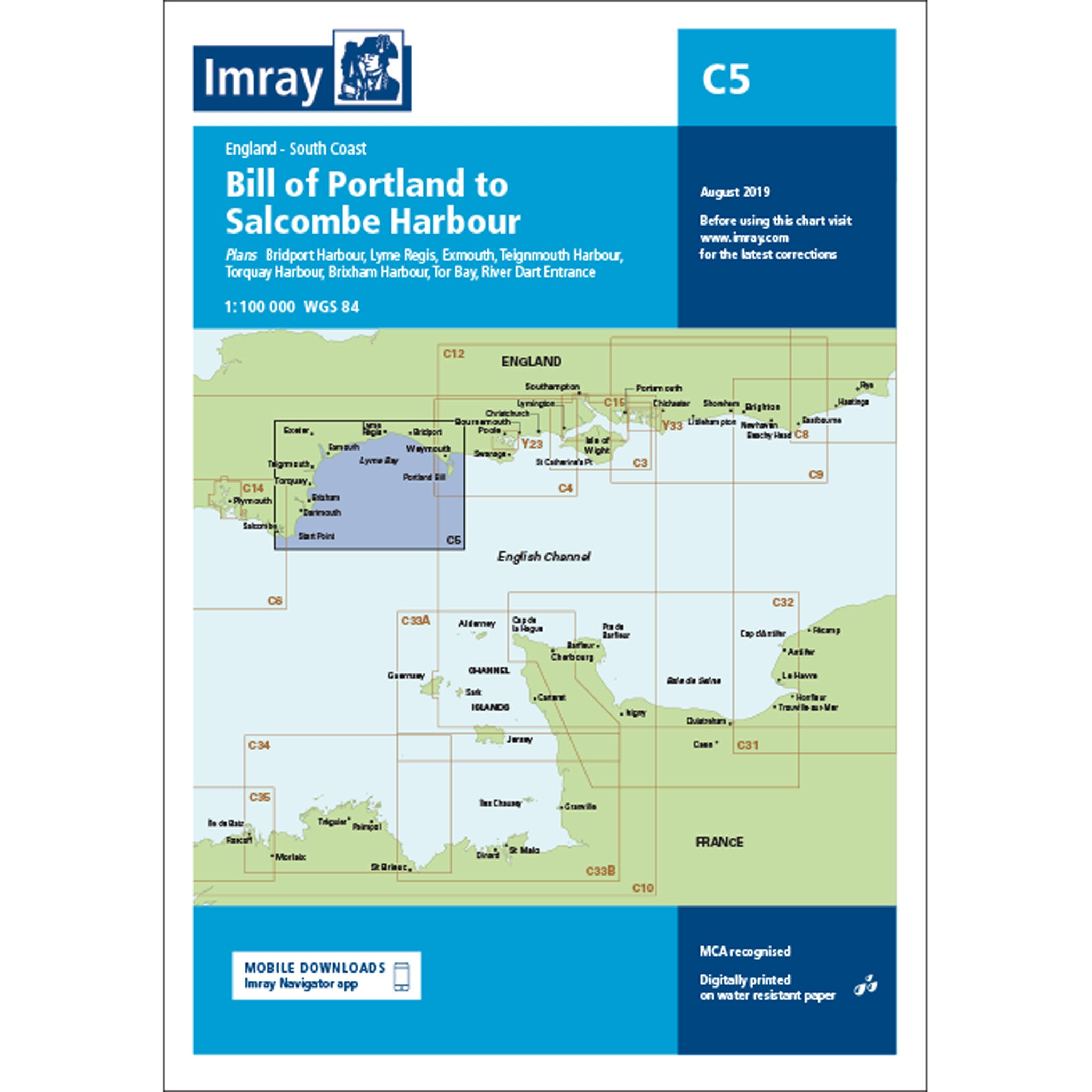 Imray Chart C5 Bill of Portland to Salcombe Harbour