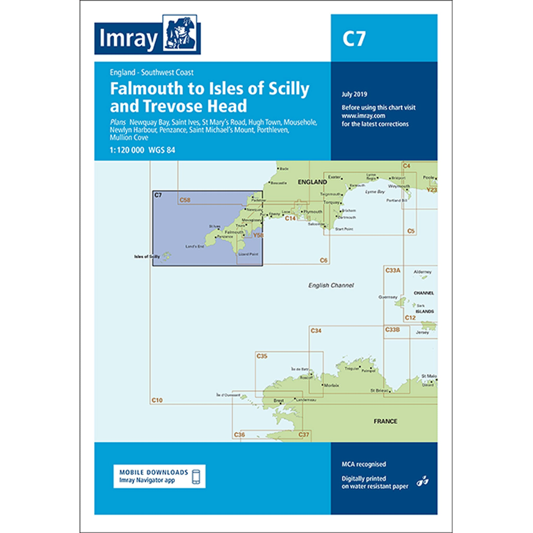 Imray Chart C7 Falmouth to Isles of Scilly and Trevose Head