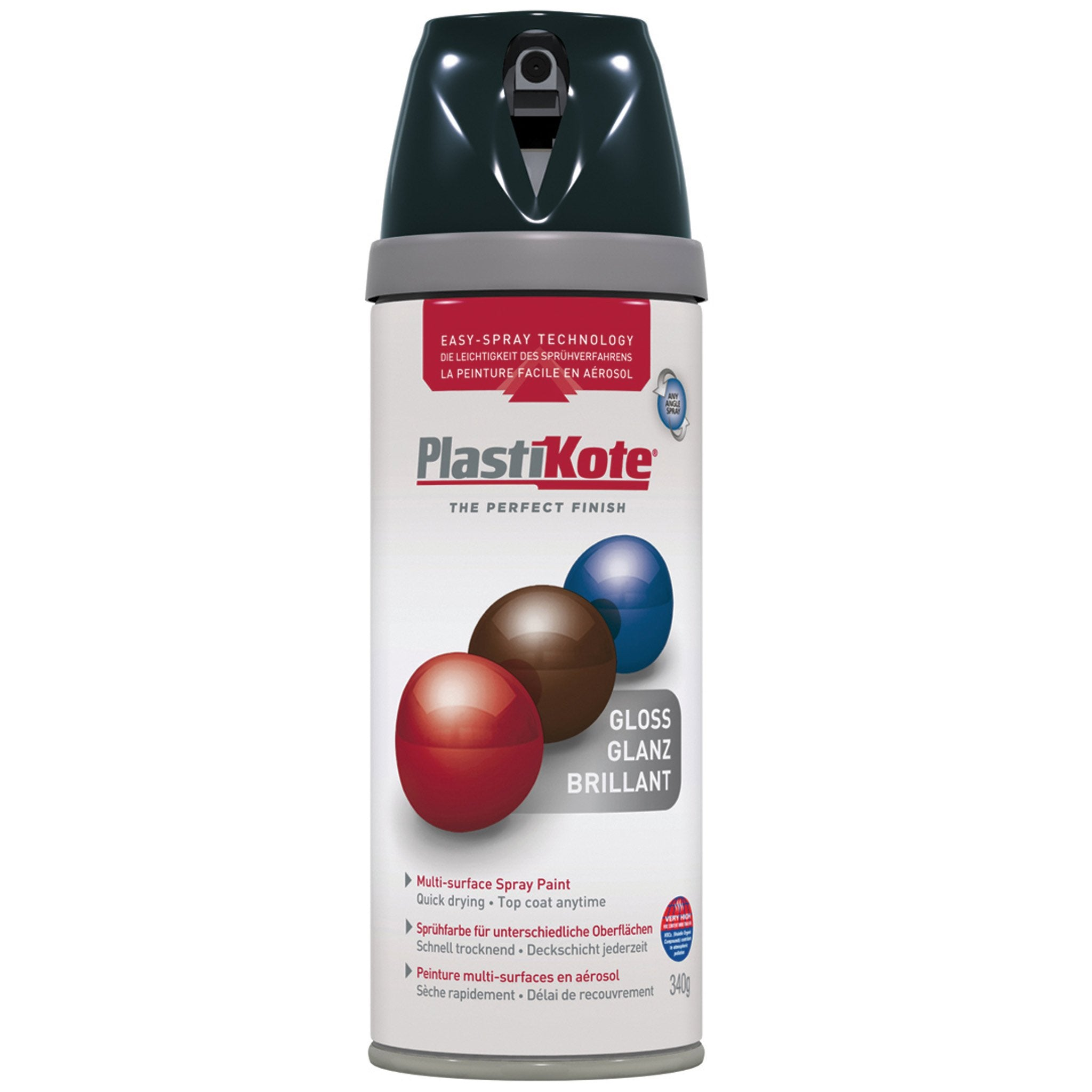 Plasti-kote Gloss Black Twist and Lock Spray Paint - 400 ml - Arthur Beale