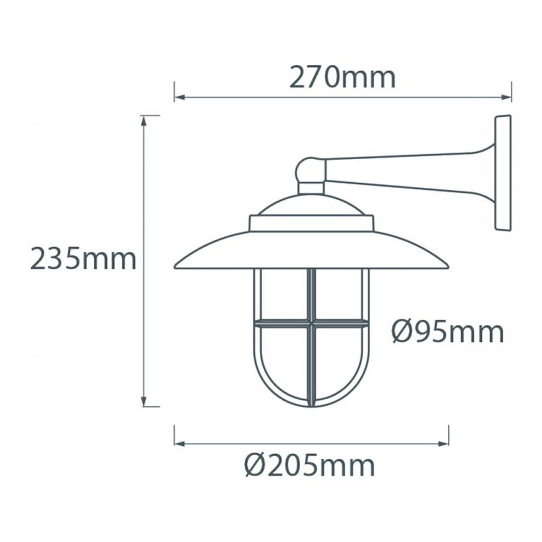 Side Arm Wall Light (With Hood & Grill)