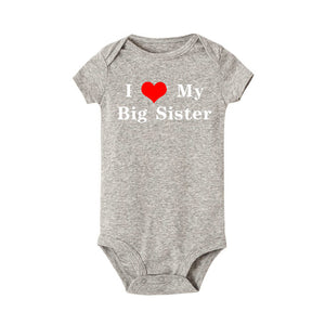 I Love My Big Sister Printed Newborn Cotton Romper